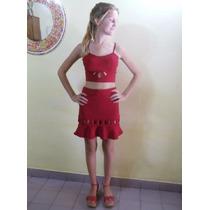 Vestido Conjunto Importado Rojo Corto Con Crop Top Armado