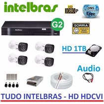 Kit 4 Cam. Hd Hdcvi Ahd 1010b G3 Dvr 4ch Intelbras 1004 1tb