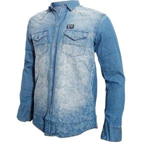 Camisa De Jean Gastada Dibujo Láser Bross