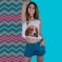 Camiseta Feminina Blusa Businha Camisa Cropped Beagle Oculos