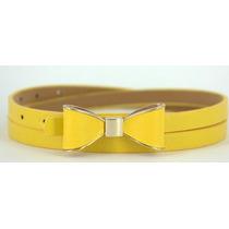 Lindo Cinto Amarelo Com Fivela Em Laco E Detahe Dourado