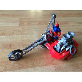 Motocicleta Mattel 2000 Con Sidecar X-treme Motor Cuerda .