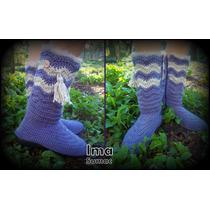 Botas Invierno Artesanal Tejidas Crochet. Suela Pvc. T 35/39