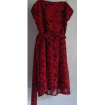 Vestido De Gasa Animal Print Rojo Y Negro Rapsodia, Art 323