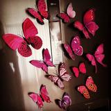 12 Mariposas Imantada Y Adhesiva Rosado Decorativas