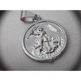 B. Antigo - Medalha Sacra São Miguel Arcanjo Metal Prateado