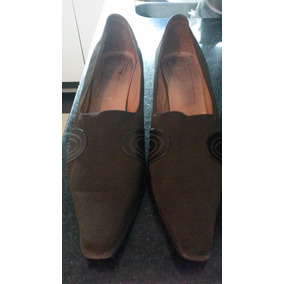 Zapato Stiletto Bota Corta Neoprene Y Cuero Talle 40 Marron