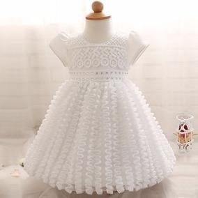 Vestido Bebê Infantil Batizado, Ano Novo, Festas Branco Luxo