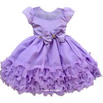 Vestido Infantil Festa Luxo Princesa Sofia Com Tiara