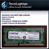 Memoria Ram Ddr3 2gb Sodimm Pc3 12800 Garantía De 6 Meses