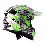 Casco Cross Ls2 Glitch Blanco/negro/verde L Xl Certificado