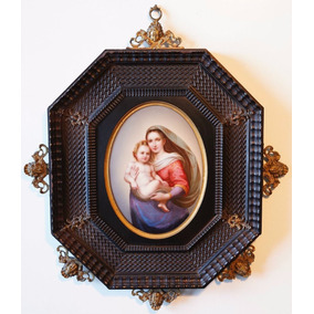 Placa En Porcelana Siglo 19 Virgen María Y Niño Jesús