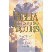 Biblia De Estudio Arcoiris, Rvr60, Piel Fabricada Rojiza