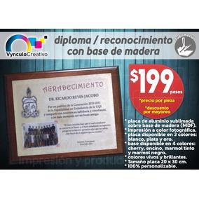 Diploma Reconocimiento A Color Con Base Madera Sublimado