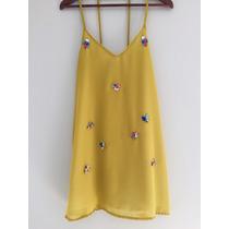 Vestido Amarillo Bordado