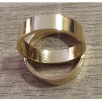 Par De Aliança Em Ouro 18k Reta Lisa 5mm 7 Gramas