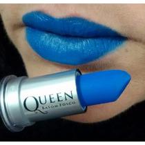 Batom Queen Matte Fosco Com 10 Cores Vermelho Ou Azul