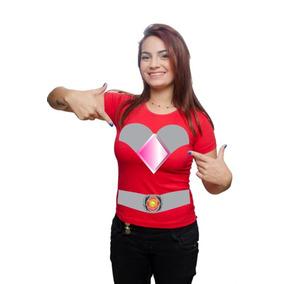 Camiseta Power Ranger 2017 Vermelho Feminina Customizada