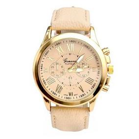 Relógio Feminino Dourado Luxuoso Analógico Pulseira Em Couro
