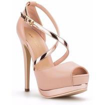 Elegantes Zapatillas Andrea De Piel Rosas Con Oro Rosa Altas