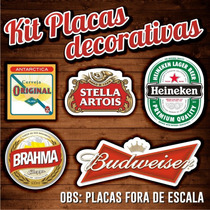 Kit 5 Placas Decorativas Cerveja Churrasqueira Brahma Bud