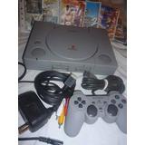 Play Station 1 Fat O Slim Ps1, 1 Mando, 10 Juegos, Memory