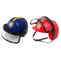 Kit Capacete Policial + Bombeiro- Brinquedo Infantil