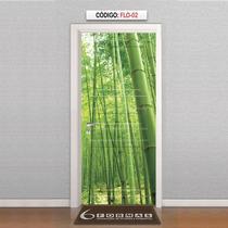 Adesivo Decorativo Para Porta Textura Bambu Flo02
