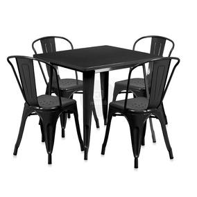 Kit Mesa Tolix 80x80 Cm + 4 Cadeiras Tolix - Preto