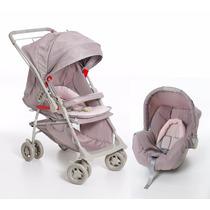 Kit Carrinho Bebê Conforto Galzerano Maranello Cinza E Rosa