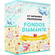 Kit Imprimible Fondos Diamante Para Kits Decoupage Scrapboo