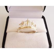 Anillo Corona Tiara Plata Y Oro Diseño Calado Hermoso!!!