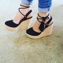 Sapatos Femininos Sandálias Anabela De Amarrar Na Perna