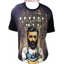Camiseta Barber Shop Barbeiro Camisa Algodão Estampa 3d