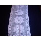Caminho Ou Trilho De Mesa Crochê Cor Branca - Motivo Flores