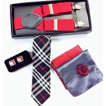 Set Suspensor+corbata+cubreboton Collera+pañuelo+pin Flower
