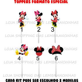 Apliques Toppers Recortes Minnie Vermelha Rosa Docinhos Cupc