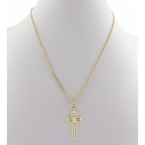 Corrente Masculina Grumet 6,8g 60cm + Pingente Cruz Ouro 18k