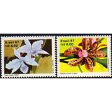 Brasil Serie X 2 Sellos Mint Flores De Orquídeas Año 1987