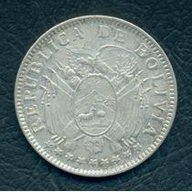 Moneda Bolivia 1909 H 50 Centavos Km#177 (plata)