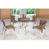 Promoção - Jogo Conjunto De Mesa Com 4 Cadeiras Aluminio