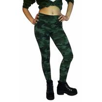 Calza Legging Chupin Camuflada Lycra & Algodon Verde Militar