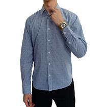 Camisa M/l Blanca Estampado Rayas Azul/cdr Marca Concrete