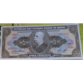 Cédula Nota Antiga/rara 5 Cruzeiros/1959 Barão Rio Branco Fe