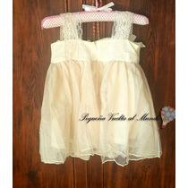 Vestido Nena Beba Bautismo Princesa Fiesta Flores Cumple