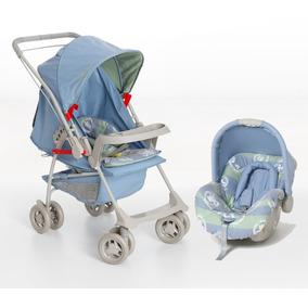 Conjunto Carrinho E Bebê Conforto Milano Azul Real Galzerano