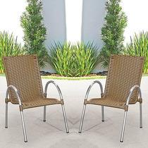 Conjunto 2 Poltronas Alumínio Cadeira Varanda Jardim Rattan