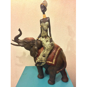 Elefante Con Negra Africana (41 Cm)