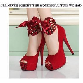Sapato Peep Toe Camurça Salto Alto Leopardo Nº36
