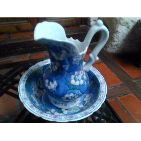 Jarra Y Palangana En Porcelana Celeste Y Blanca